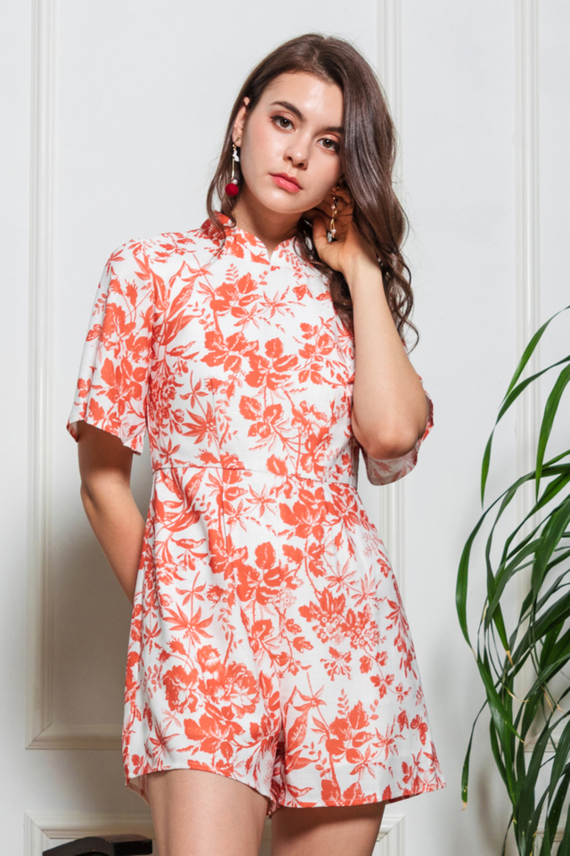 Caro Floral Oriental Romper in Red
