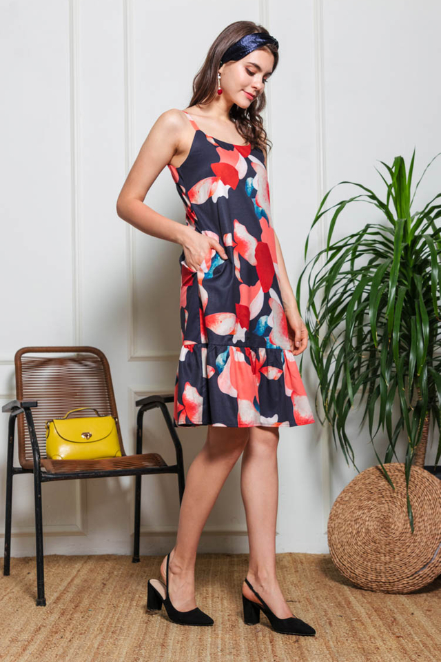 Nadia Printed Drop Waist Dress in Navy Blue