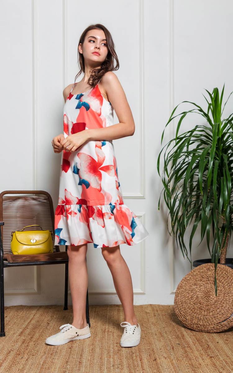 84a8f200bc53ab Nadia Printed Drop Waist Dress in White | Ninth Collective