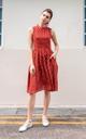 Tesla Polka Dot Midi Dress in Brick Red