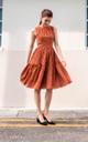 Tesla Polka Dot Midi Dress in Rust