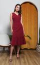 Adiel Button Midi Dress in Wine Red