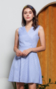 Cambrie Gingham Flare Dress in Light Blue
