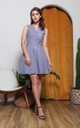 Cambrie Gingham Flare Dress in Navy Blue