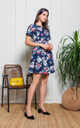 Poppy Floral Dress in Navy Blue