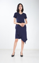 Alika Ruffle Dress in Navy Blue