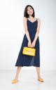 Lixie Polka Dotted Midi Dress in Navy Blue