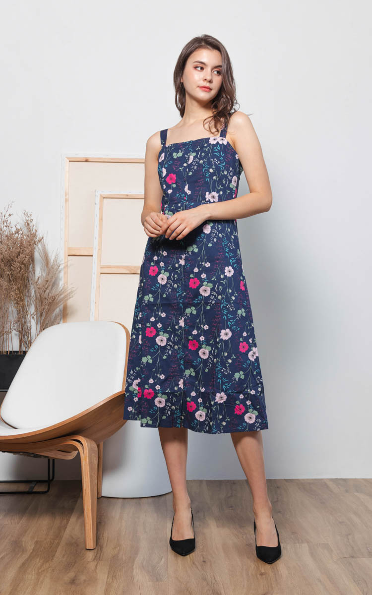 Sufy Floral Midi Dress in Navy Blue