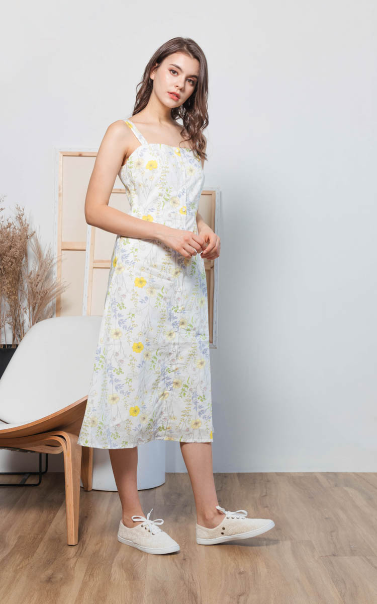 Sufy Floral Midi Dress in White