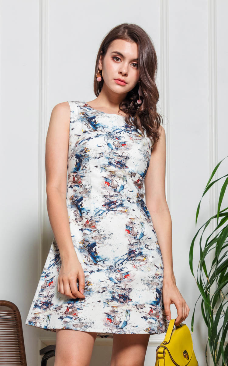 Kluje Printed Flare Dress