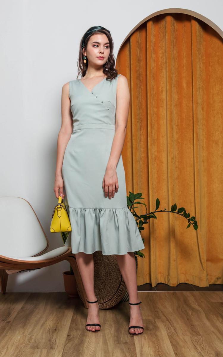 Adiel Button Midi Dress in Sage Green