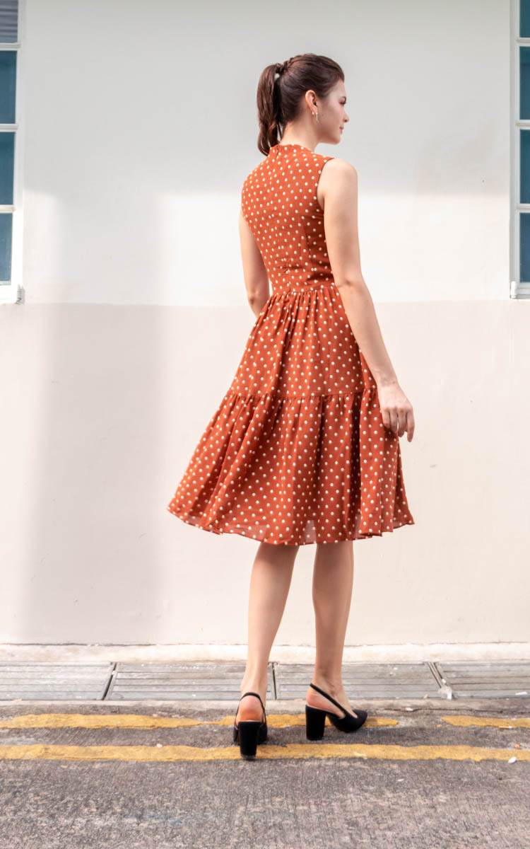 Tesla Polka Dot Midi Dress in Rust
