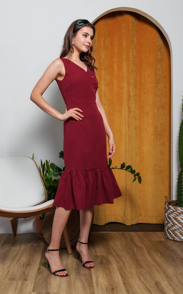 Adiel Button Midi Dress in Wine Red