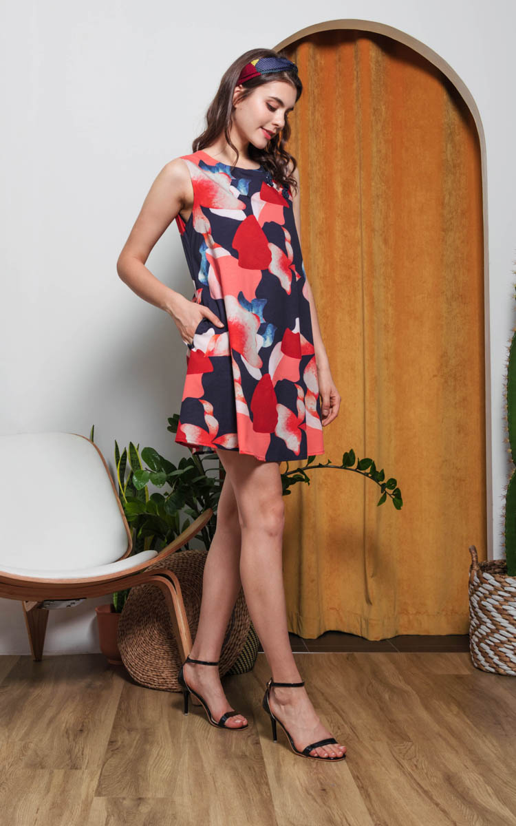 Inara Printed Cheongsam in Navy Blue