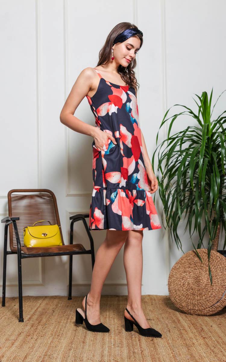 Nadia Printed Drop Waist Dress in Navy Blue