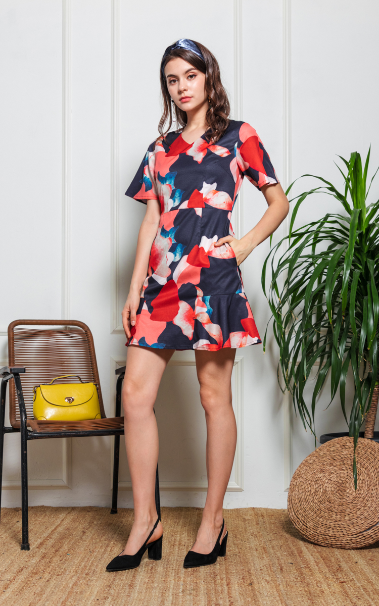 Rhys Floral Dress in Navy Blue