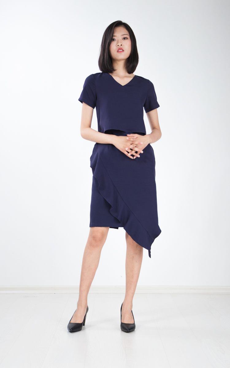 Alika Ruffle Dress in Navy Blue