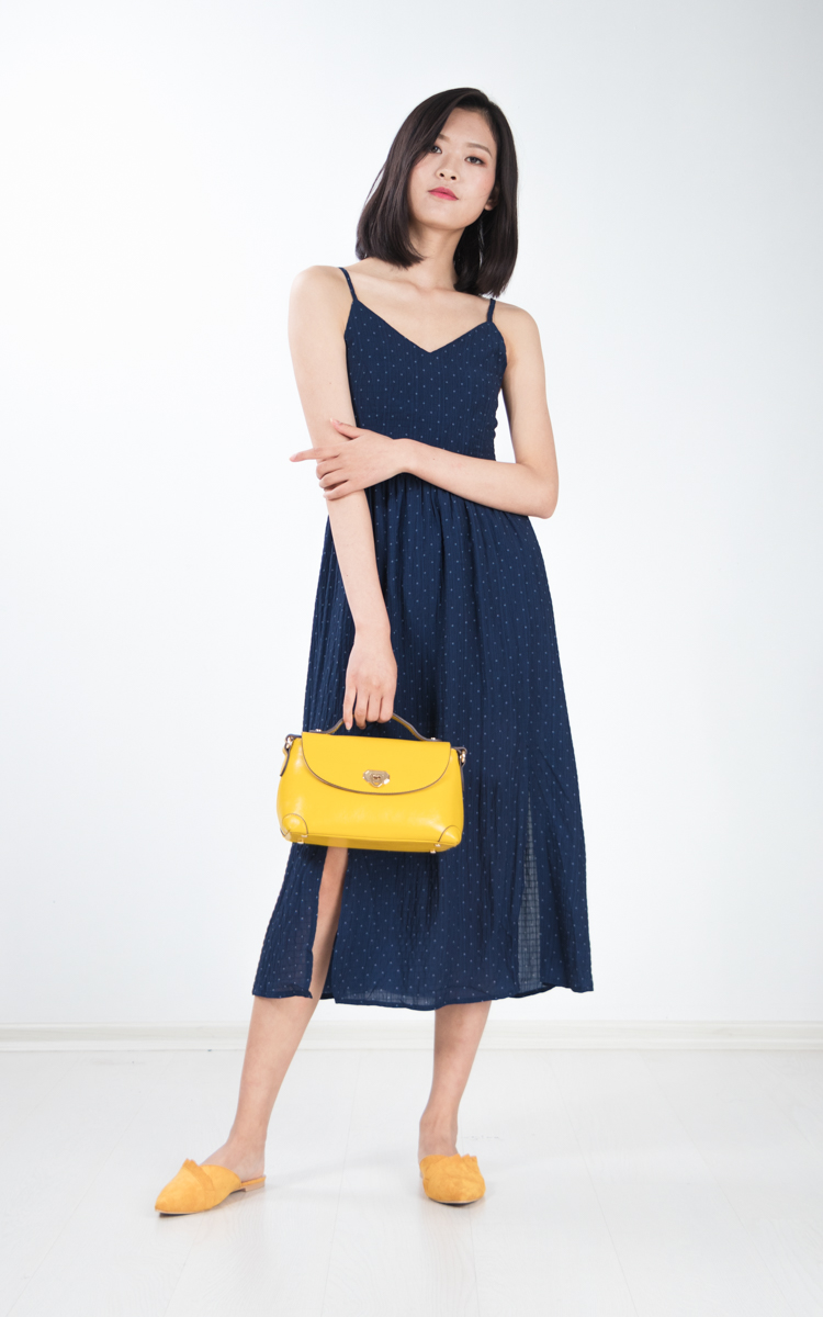 Lixie Polka Dotted Midi Dress in Navy Blue