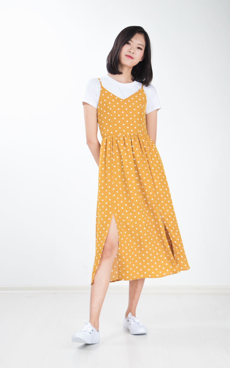 Lixie Polka Dotted Midi Dress in Mustard