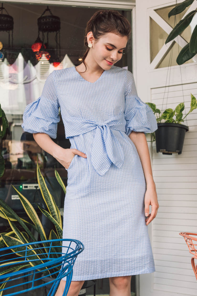 Abarrane Gingham Dress in Blue