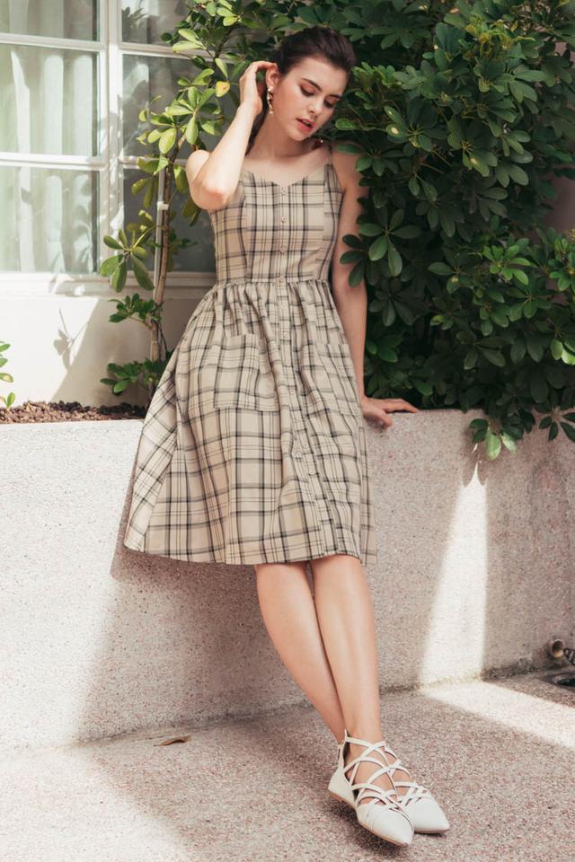 Neonida Tartan Plaid Midi Dress in Khaki