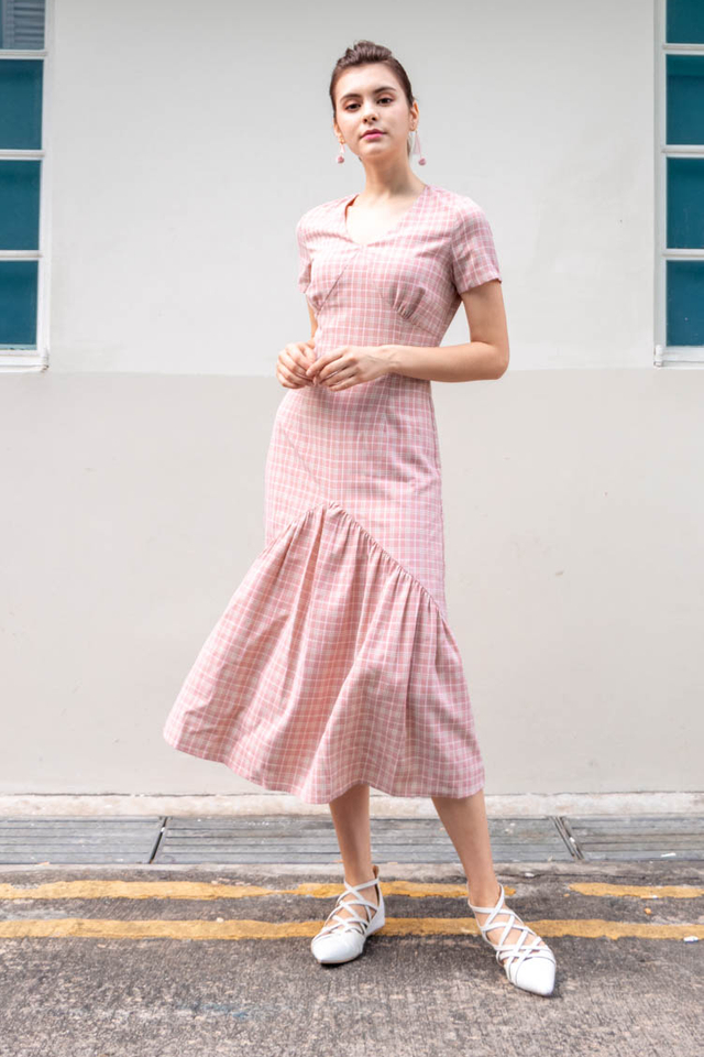 Giada Tartan Plaid Maxi Dress in Pink