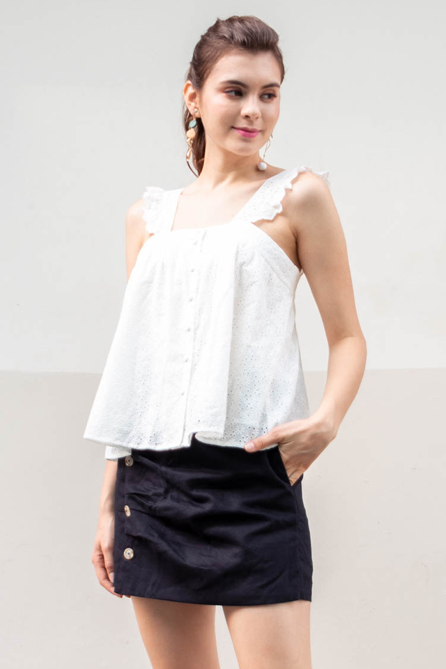 Abia Eyelet Top in White