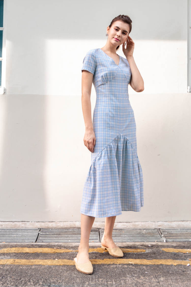 Giada Tartan Plaid Maxi Dress in Powder Blue