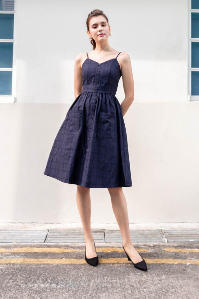 Neonida Tartan Plaid Midi Dress in Navy Blue