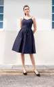 Neonida Tartan Plaid Midi Dress in Navy Blue