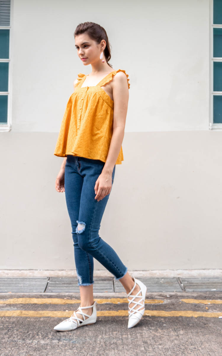 Abia Eyelet Top in Marigold