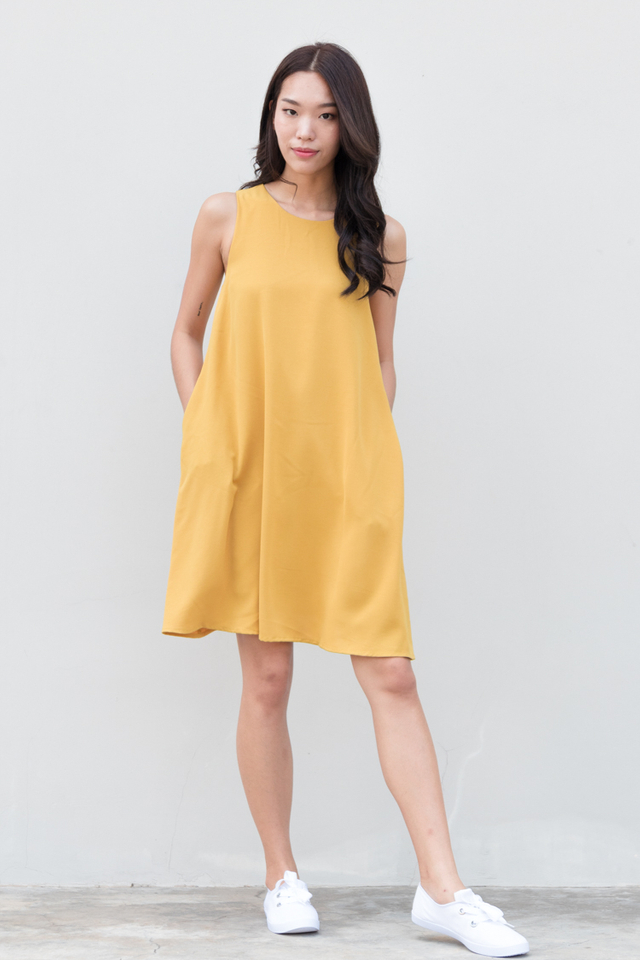 Jada Swing Dress in Mustard