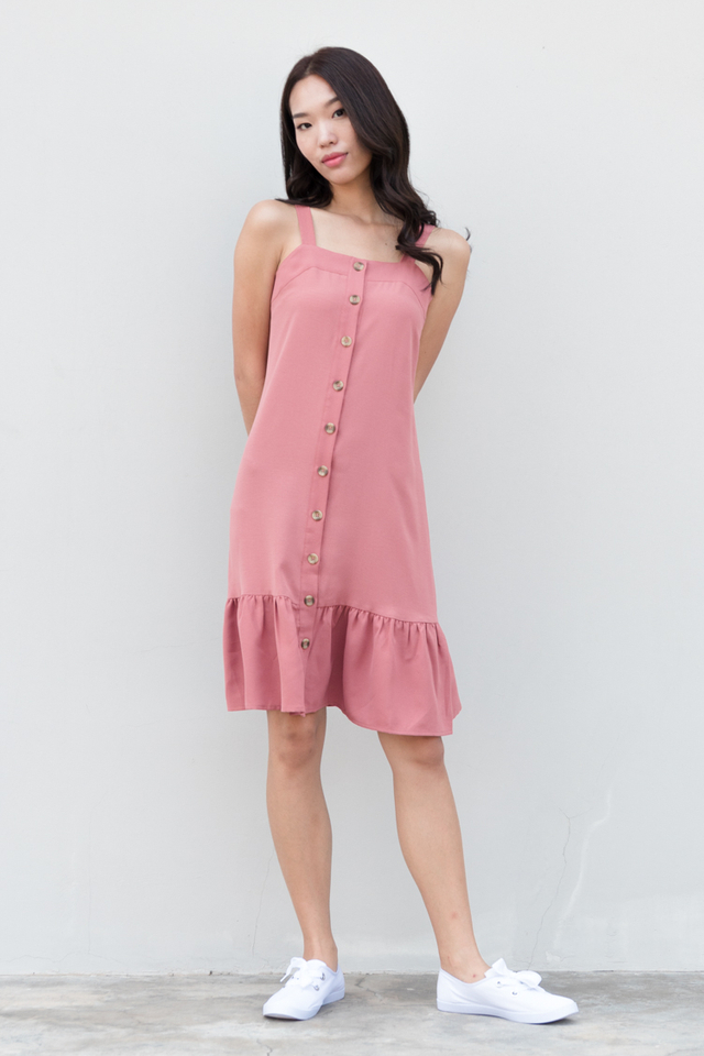 Jazlyn Button Drop Waist Dress in Rose