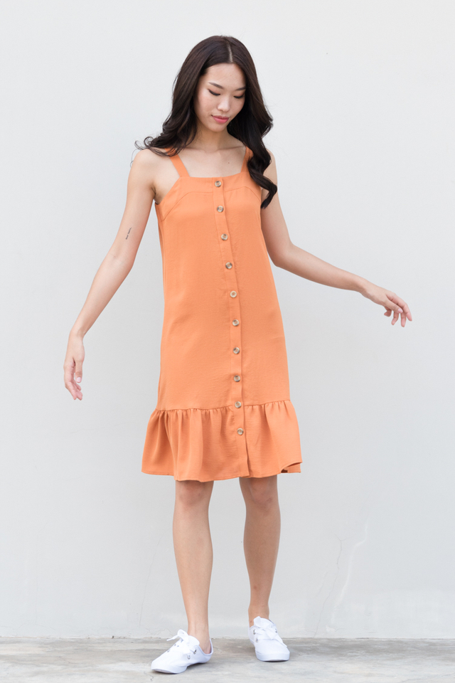 Jazlyn Button Drop Waist Dress in Caramel
