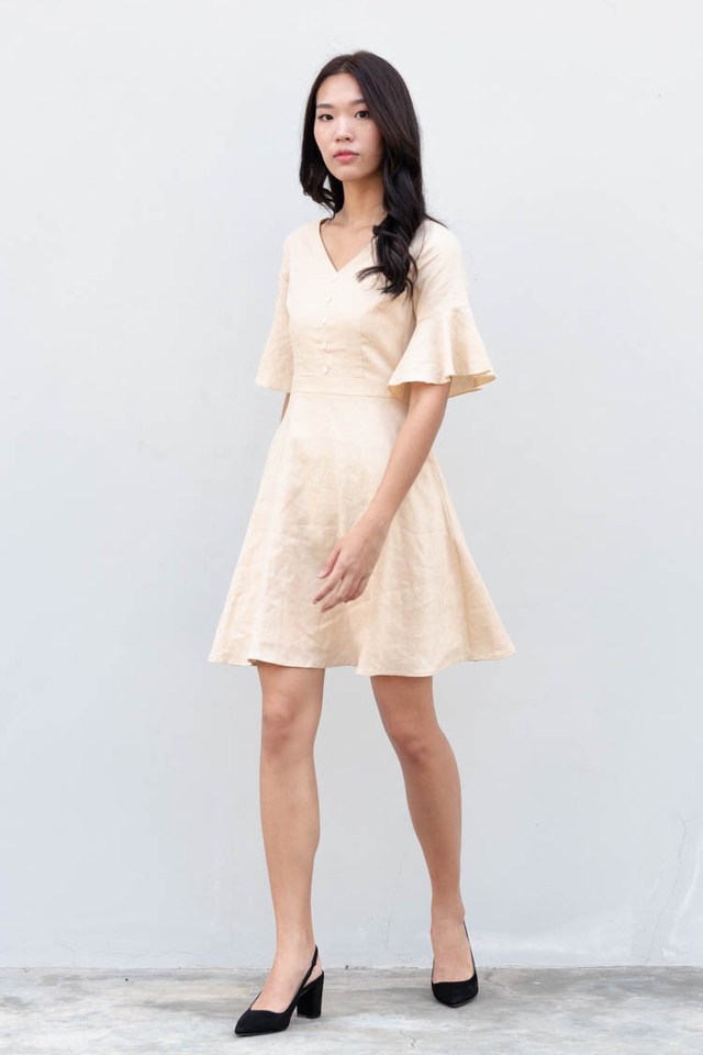 Bety Linen Skater Dress in Sand