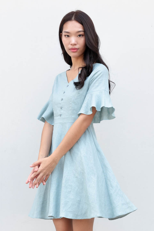 Bety Linen Skater Dress in Turkish Blue