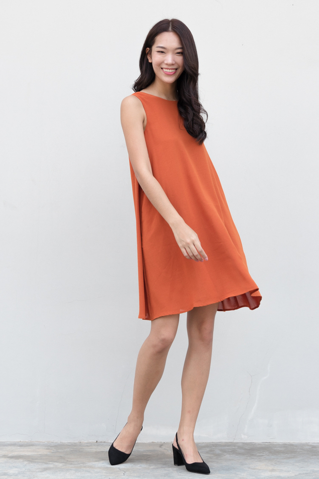 Jada Swing Dress in Rust