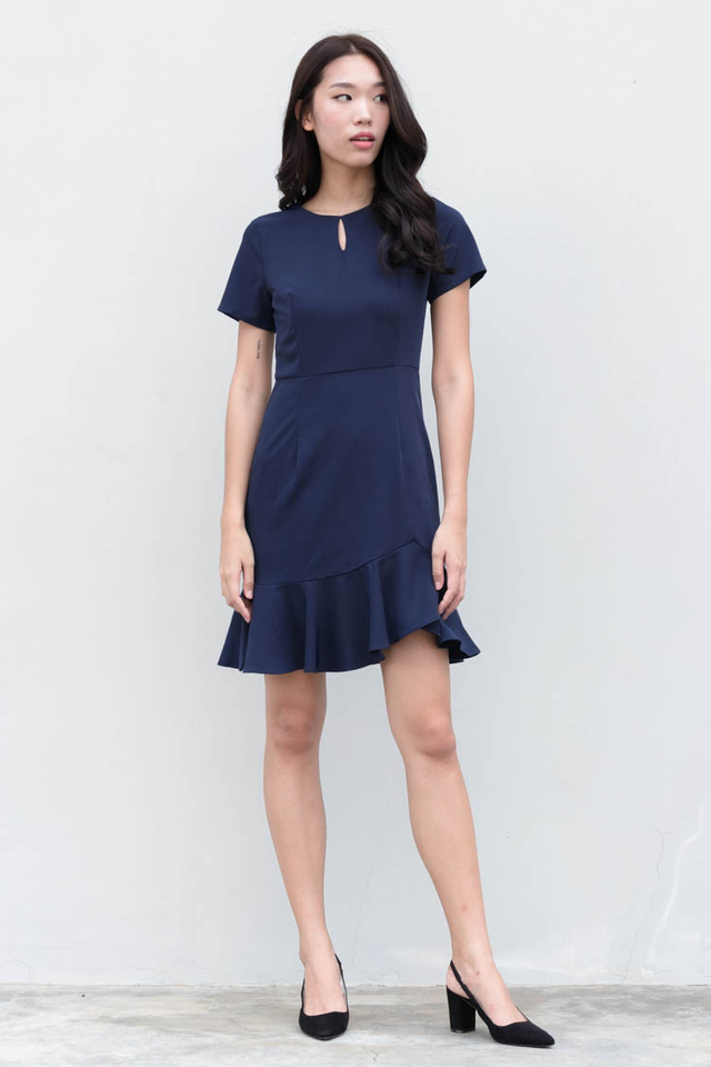 Nerissa Ruffled Work Dress in Navy Blue