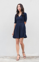 Tany Flare Dress in Navy Blue