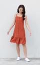 Jazlyn Button Drop Waist Dress in Rust