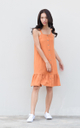 Jazlyn Button Drop Waist Dress in Caramel