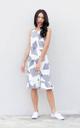 Meena Printed Drop Waist Dress in White