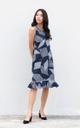 Meena Printed Drop Waist Dress in Navy Blue