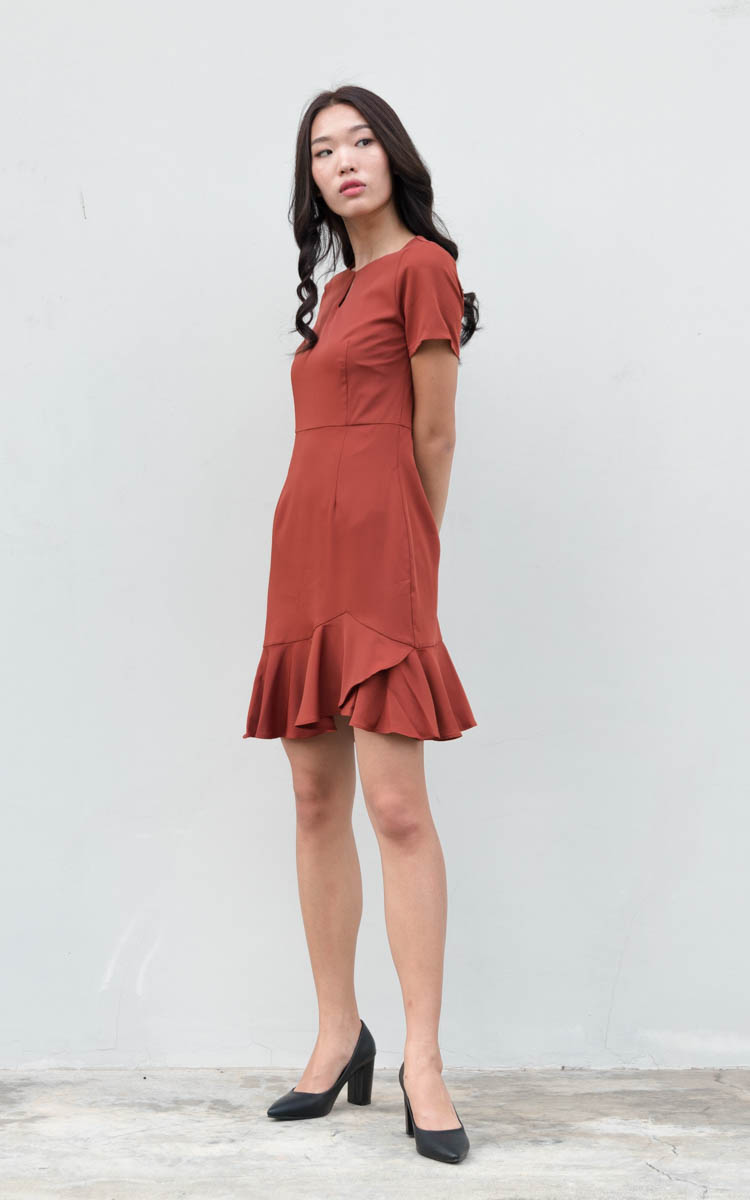 Nerissa Ruffled Work Dress in Rust