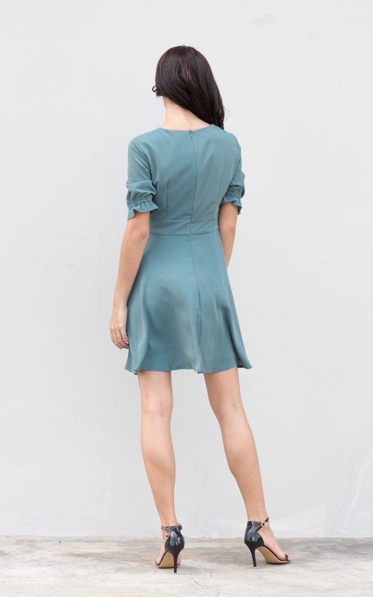Tany Flare Dress in Turkish Blue