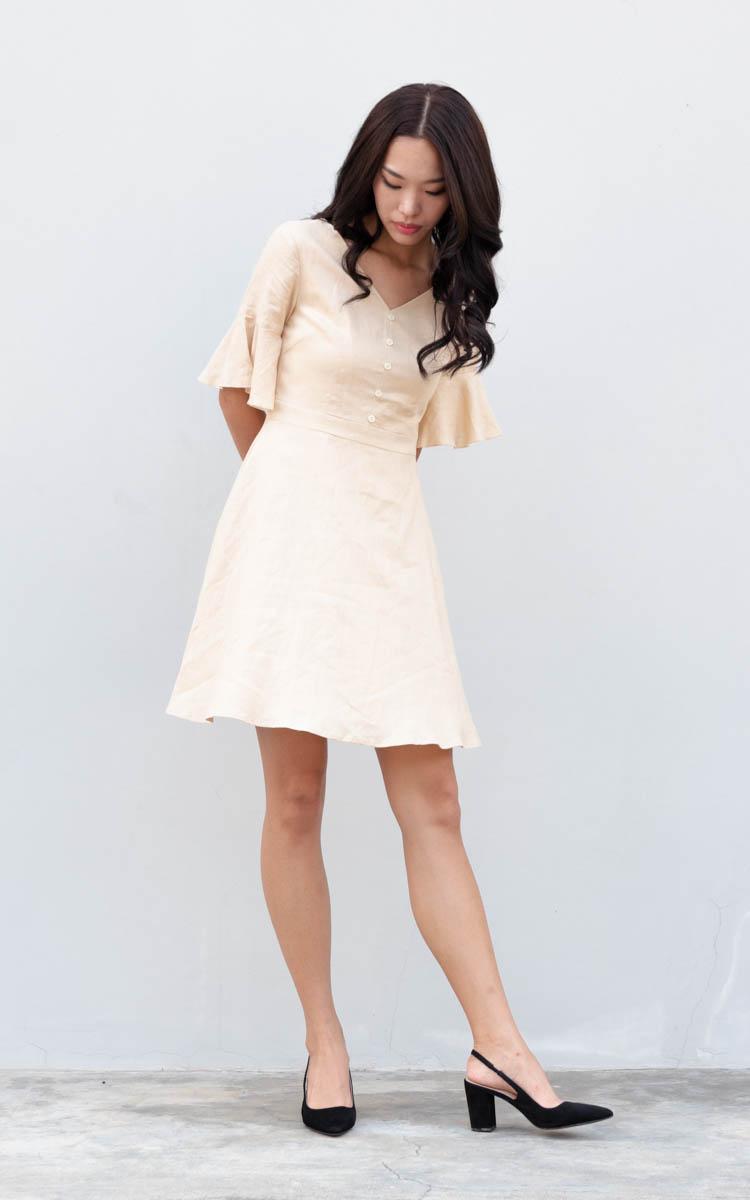 Bety Linen Skater Dress in Sand
