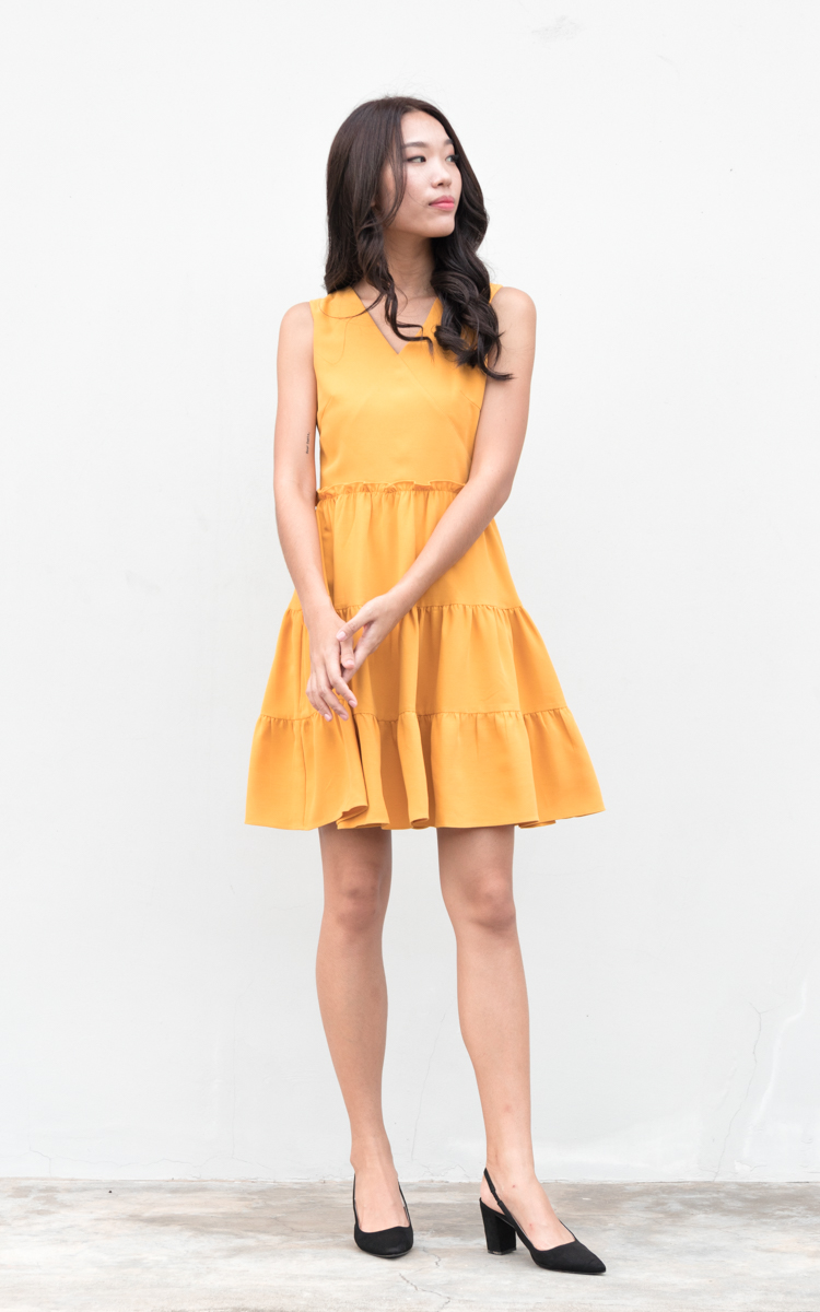 Yanis Tiered Dress in Marigold