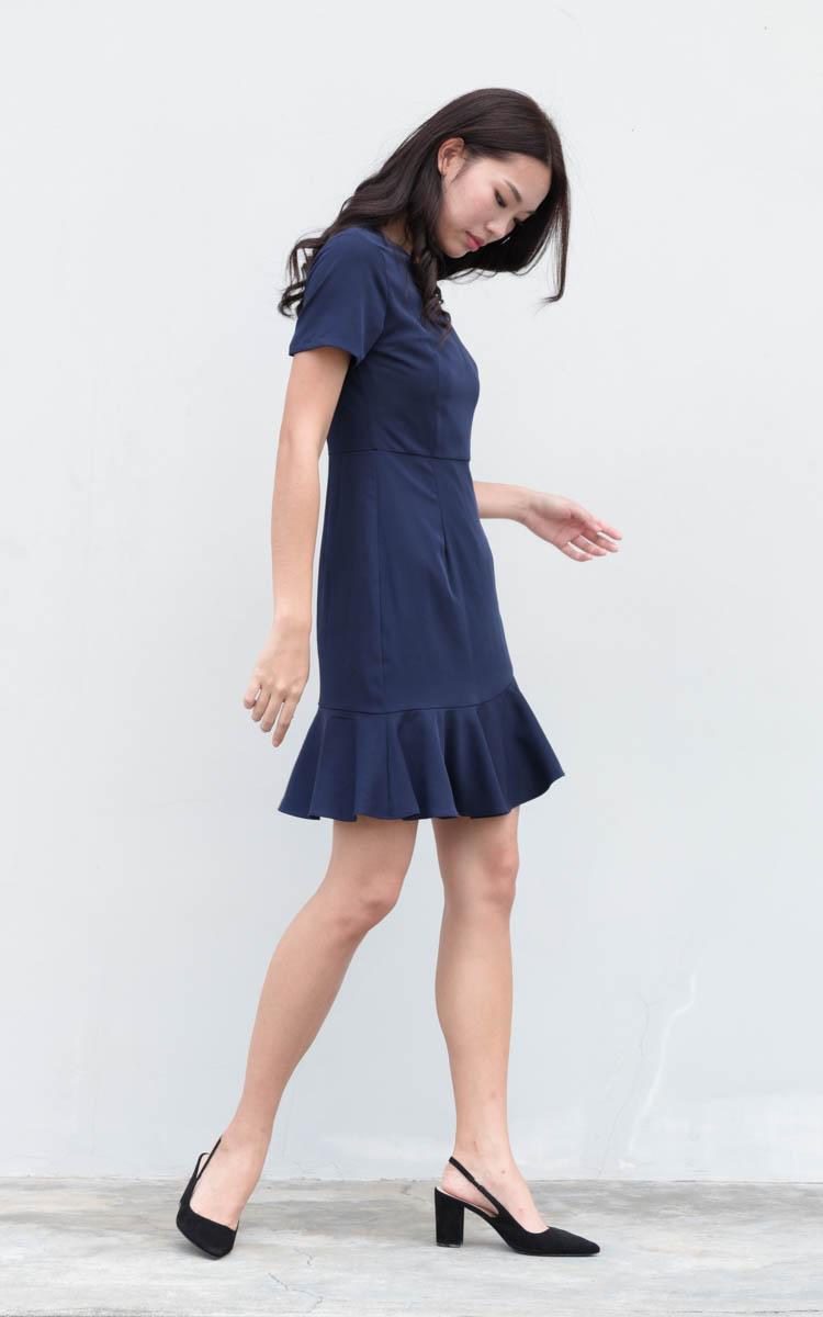 Nerissa Ruffled Work Dress in Navy Blue