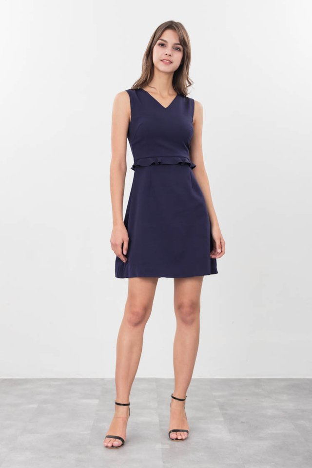Jettie Ruffled Dress in Navy Blue