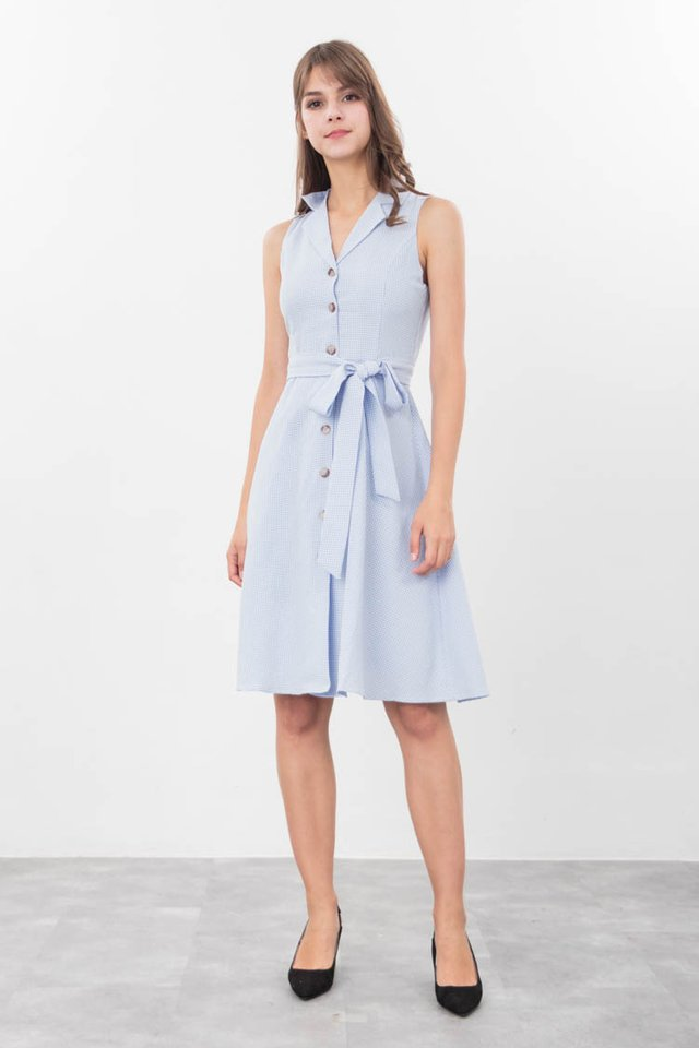 Dorene Gingham Shirt Dress in Blue